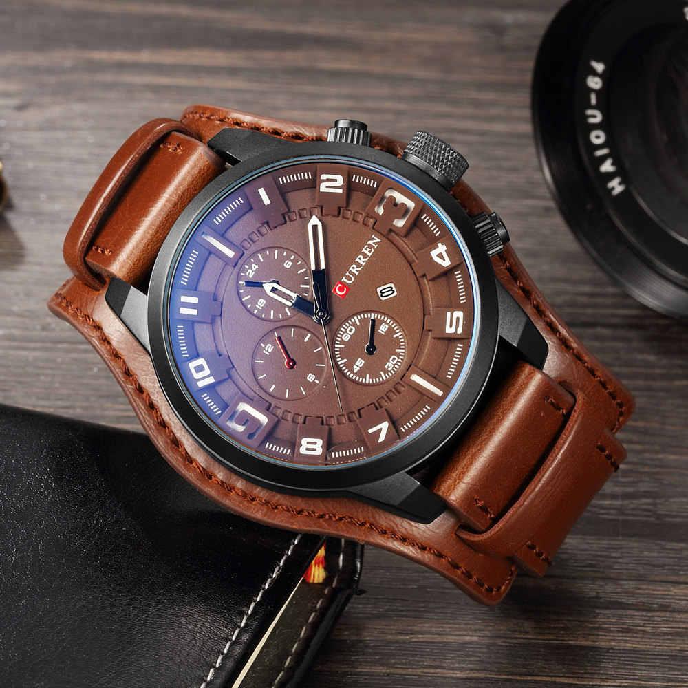 CURREN 8225 Luxury Mens นาฬิกาชายนาฬิกาวันที่กีฬาทหารนาฬิกาสายหนัง Quartz นาฬิกาของขวัญ