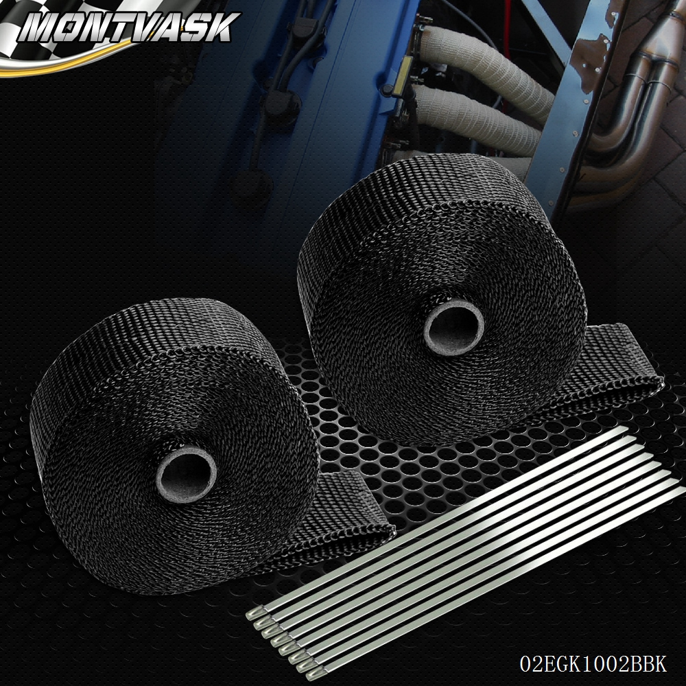 2 * Car Motorcycle 10m Exhaust Heat Wrap Turbo Pipe Heat Insulated + Cable Ties Black