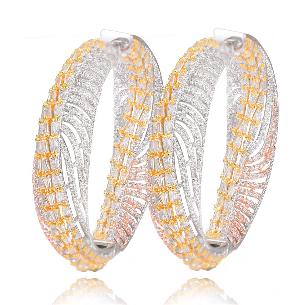 SisCathy Charm Luxury Big Hoop Earrings For Women Three Tone Cubic Zirconia Pave Copper Women Earrings 2019 New Fashion Jewelry