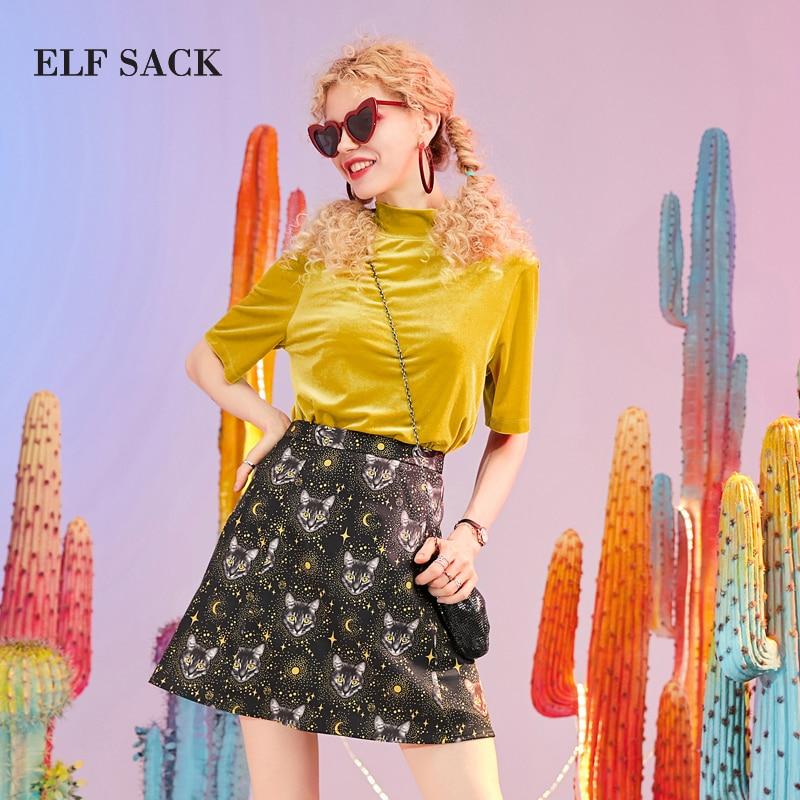 Elf sack 여성 세트 세련된 캐주얼 터틀넥 여성 t 셔츠와 streetwear 인쇄 중반 허리 여성 무릎 길이 스커트 office suit-에서여성 세트부터 여성 의류 의  그룹 1