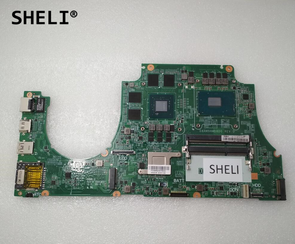 SHELI For DELL 15 7559 Motherboard with I7-6700HQ DAAM9AMB8D0 CN-0MPYPP 0MPYPP MPYPP sheli for dell 1645 motherboard with hd 4670 1gb da0rm5mb8e0 cn 0y507r 0y507r y507r