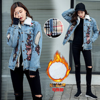 Outerwear Womens Denim Jacket 2018 New Light Blue Winter Jacket Women Crane Birds Embroidery Warm Jeans Jacket Female Basic Coat