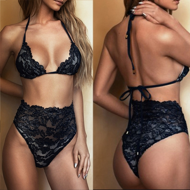 women's sexy hollow out lace bra + panties women black sleepwear