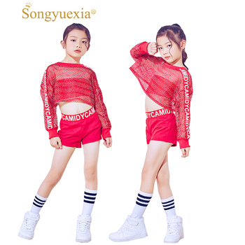 a72cbe3e4 Songyuexia nuevos niños rojo Jazz dancewear traje de Red Hiphop danza moderna  ropa de escenario