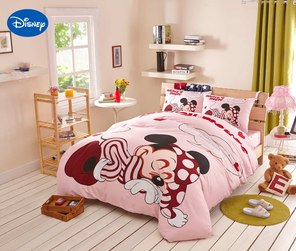 Disney Cartoon Minnie Mouse Dream Bedding Textile for Girls Kids Bedroom  Decor Cotton Bed sheet Cover Set Single Full Queen King