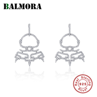 BALMORA 925 Sterling Silver Funny Alien Zircon Dangle Earrings for Women Girl Gift Earrings Brincos Fashion Jewelry JWSE0537
