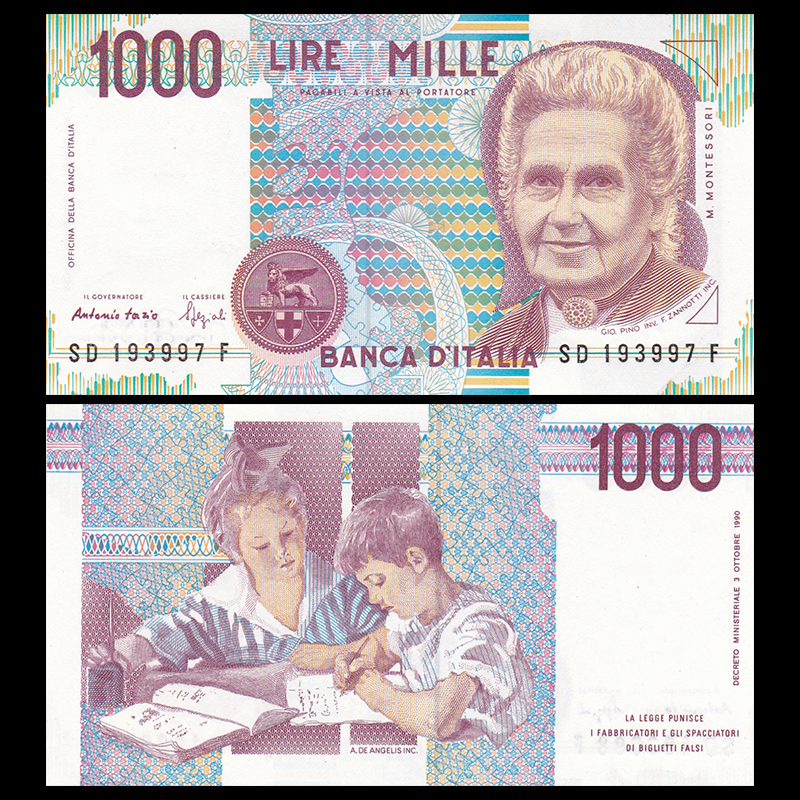 Italy 1000 1,000 Lire, 1990, P-114, UNC, Uncirculated, Collection, Gift, Europe, Original Paper Notes