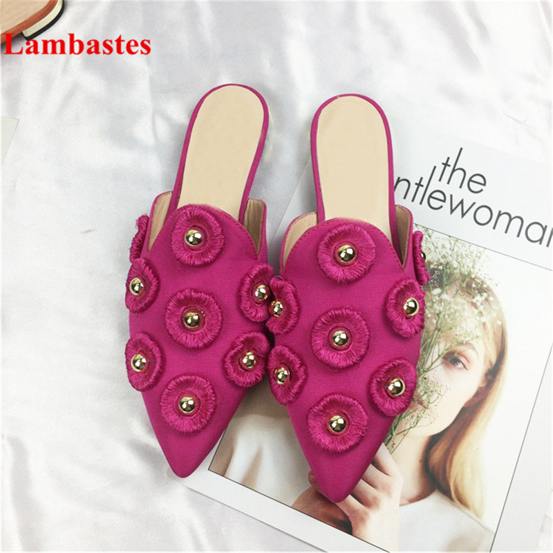 2018 Hot Spring Summer Outdoor Women Slippers Red Pointed Toe Tassel Rivets Designer Women Slippers Silk Flats Slippers Female double tassel decorated pointed toe flats