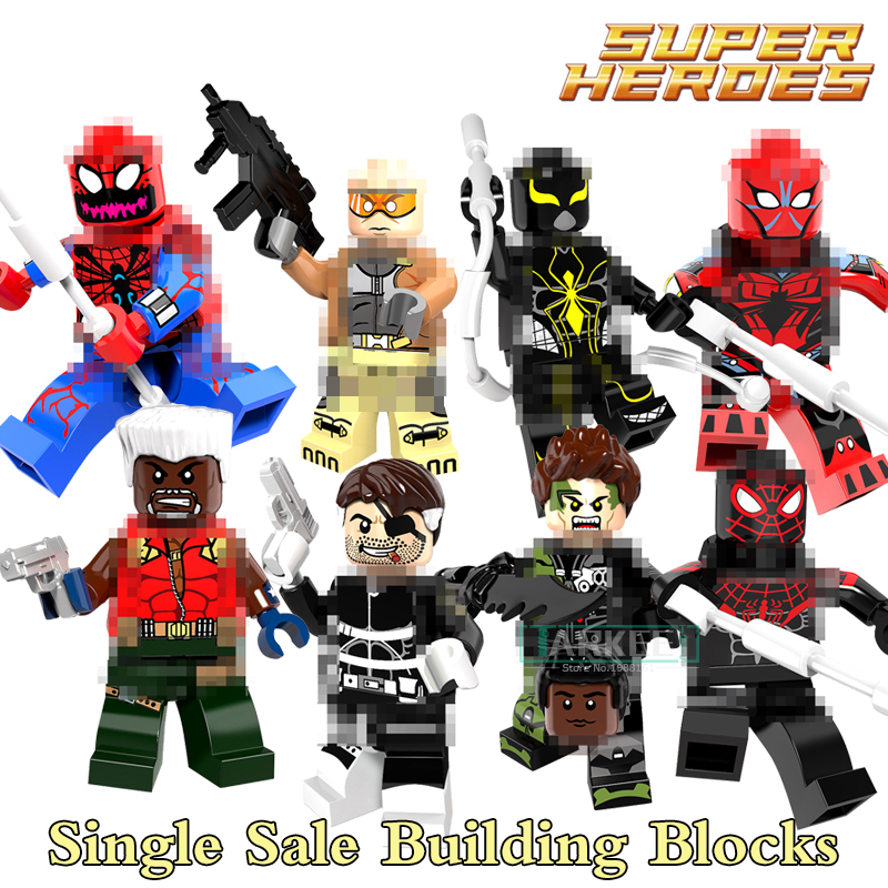 Building Blocks PG8096 Super Hero Figures Ultimate Spider-Man Mark 2 Nick Fury G. W. Bridge Carnage Green Goblin Kids DIY Toys