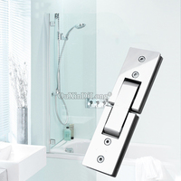 High Quality 2PCS Stainless Steel Frameless Shower Glass Door Hinges 180 Degree Glass Fixed Holder Brackets Glass Clamps Hinges