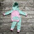 Дети Осень одежда дети с длинным рукавом одежды новорожденных девочек балахон одежда девушки олень брюки розовые полосы одежду бутик наряды