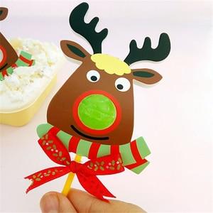 Image 2 - 50/25Pcs Nice Cute DIY Santa Claus/Snowman/Penguin Paper Invitation Cards Lollipop Christmas Gift Package Decor