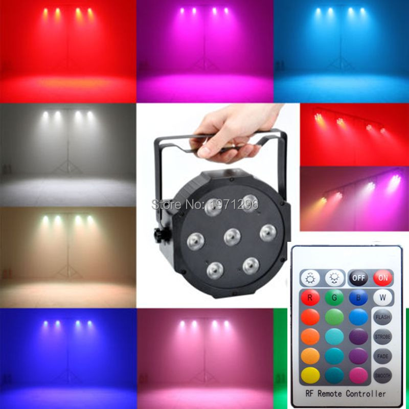 ФОТО 4pcs Wireless remote control LED Mini PAR light 7X12W DMX rgbw 4in1 quad led flat par can stage lighting