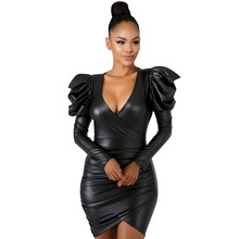 Black PU Faux Leather Party Dresses Women Deep V Neck Puff Long Sleeve Wrap Dress Sexy Bow Sash Slim Mini Dress Vestidos цены