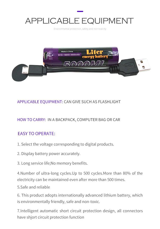 Image 3 - 10PCS Laptop battery USB 18650 3500mAh 3.7V Li ion battery USB 5000ML Li ion Rechargebale battery + USB wire-in Laptop Batteries from Computer & Office