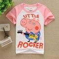 2016 летний стиль Девушки парни 100% хлопок футболки мультфильм розовый красный свинья дети Детская одежда музыка Топы и Тис girlstops бобо выбирает