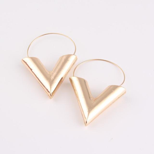 e1897052b570a Hot Sale Personality Big V Shape Geometric Earrings for Women Gold Silver  color alloy Exaggerated Dangle Earrings