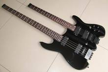 Wholesale Double Neck Headless Electric Bass Guitar 4 String Bass+6 String Guitar In Black 120315