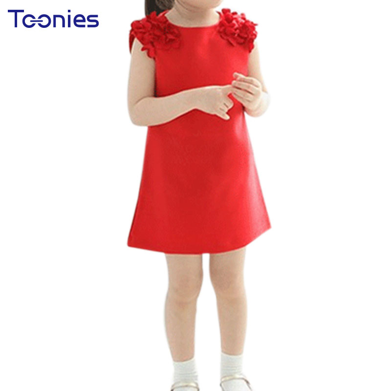 New Fashion Dresses Kids Flower Dress Pink Red Sleeveless Girls Casual Summer Child Clothing Cute Princess Vestidos Solid YY0313