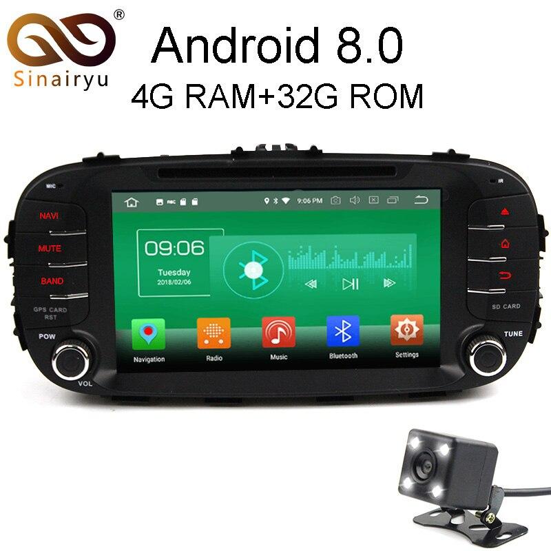 Sinairyu 4 г Оперативная память Android 8,0 автомобиль DVD для Kia Soul 2014 2015 2016 Octa Core 32 г Встроенная память радио gps плеер головное устройство