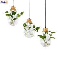 IWHD стеклянная Подвесная лампа  светодиодная Подвесная лампа  современные деревянные подвесные светильники  креативная кухонная столовая л...