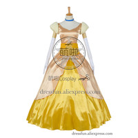Cinderella II 2 Dreams Come True Cosplay Princess Cinderella Costume Golden Formal Dress Fashion Party Fast Shipping Halloween