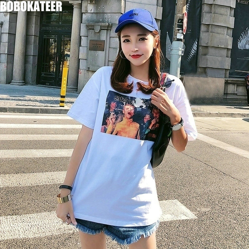 9af0accd95a BOBOKATEER Harajuku Oversized White T shirt Women Tee Shirt Cotton Loose Plus  Size Long Summer Female Tshirt Women Tops 2019