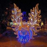 Наиболее популярных серебряный цвет гигантские надувные Ангел Silver Wing костюм для сцены событие клуб украшения