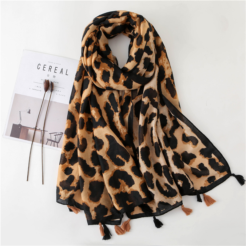 Woman Beach Scarf Luxury Brand Viscose Spring Big Scarf Hijab Natural Animal Leopard Print Scarf Hair Womens Scarfs Fashionable