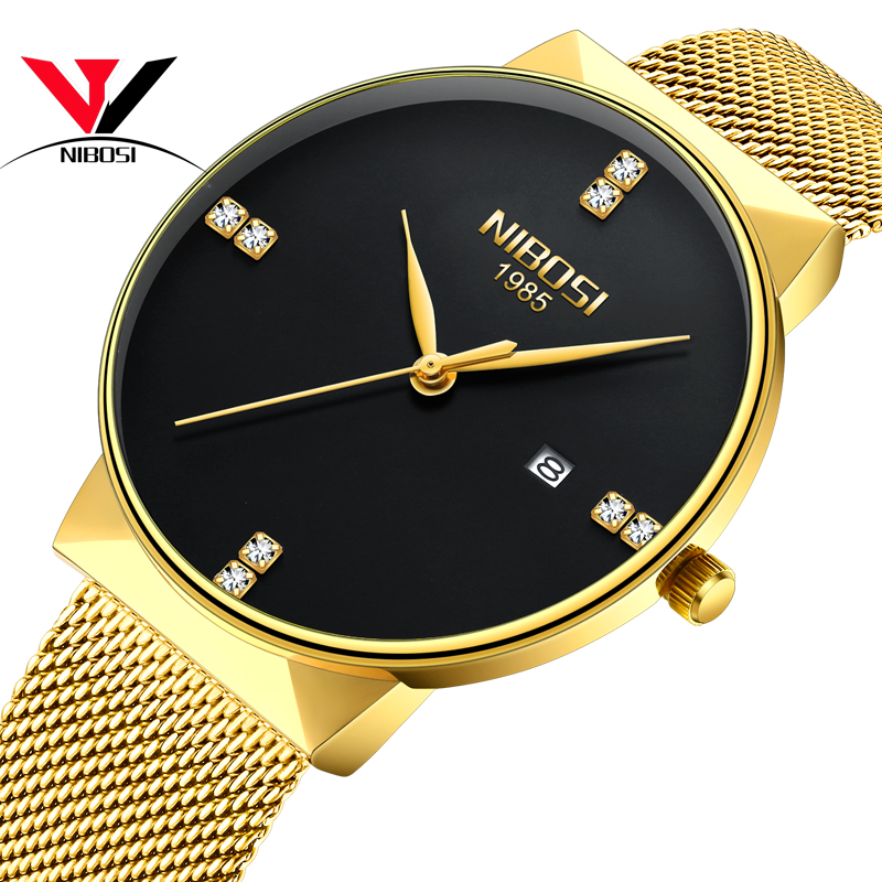 NIBOSI Unisex Men Watches And Watch Women Top Brand Luxury Waterproof Mesh Band Smple Watch Thin Famous Brand Dress Wristwatch(China)