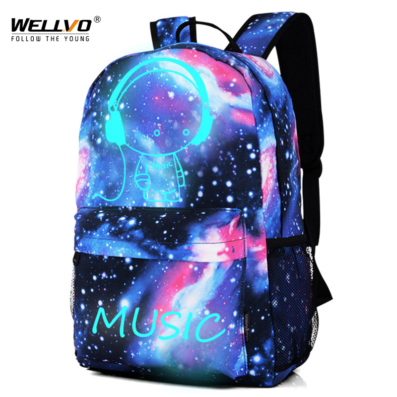 Luminous Backpack Men Galaxy Canvas Backpacks Boys Cartoon Printing School Bags for Teenage Girls Travel Bag Escolar XA1963C цена