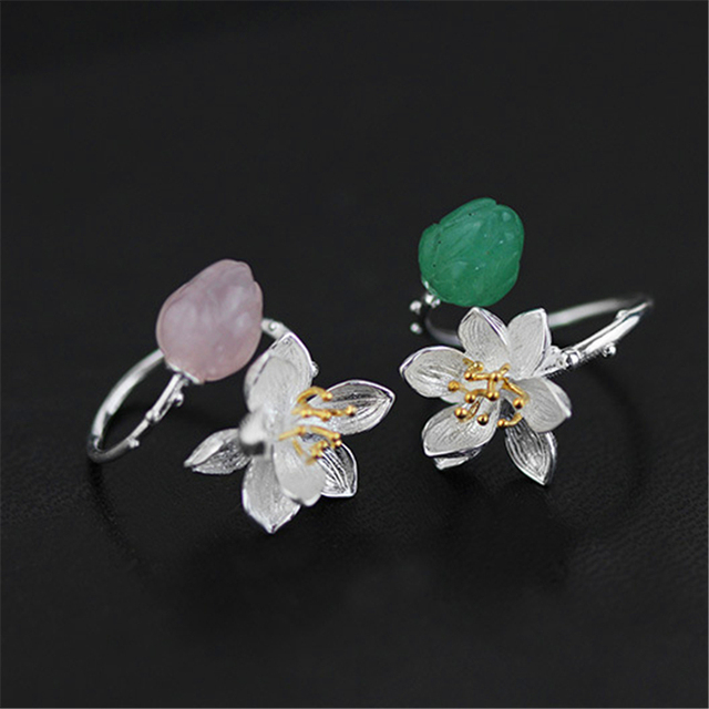 Lotus Fun Real 925 Sterling Silver Natural Chalcedony Handmade Fine Jewelry Flower Ring Lotus Whispers Rings for Women Bijoux