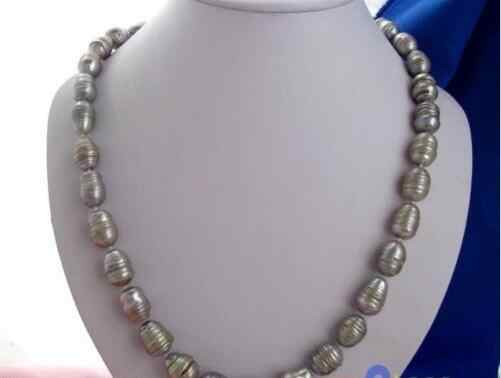 """Free shipping hot sale Women Bridal Wedding Jewelry >> Big 18""""18mm rice baroque gray freshwater pearl necklace"""