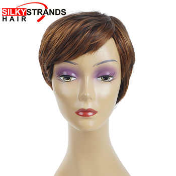 Short Pixie Cut Wigs Straight  Synthetic Wigs Bob Cut Wigs Hairstyle Black Wig For Women With Side Part Bang Silky Strands - DISCOUNT ITEM  29% OFF All Category