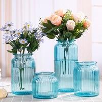 4pcs/set Glass vase Decoration European pastoral restaurant Transparent glass Hydroponic vase Creative Insert vase