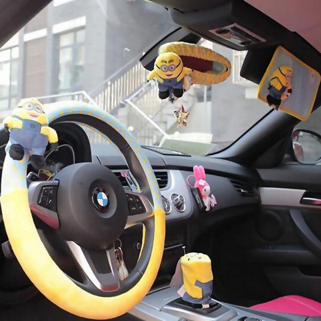 9pcs Set Car Interior Decoration Accessories Short Plush Cartoon