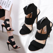 купить Liren 2019 Summer Fashion Lady Gladiator Sandals Cross-tied Elastic Band Ankle Strap Open Toe High Thin Heels Women Sexy Shoes по цене 1236.11 рублей