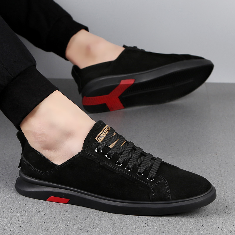 Fashion men trend Shoes outdoor Men's Casual Shoes Lace-Up Flat Breathable New   suede     leather   Footwear High Quality Shoes L5