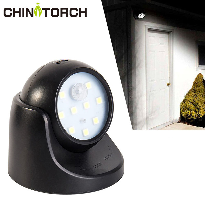 Wireless Motion Sensor Light 9 LED AAA Battery Powered 360 Degree Rotation Night Light Motion LED Indoor Outdoor Wall Lamp