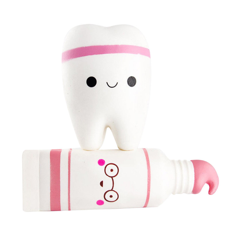 Squishies Soft Toothpaste And Tooth Slow Rising Scented Squeeze Relieve Stress Toy  Squishi Gift For Baby Kid  F1