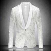 Party Club Wear Men's Blazer Single Button Shawl Collar Jacquard Blazer Jacket Plus size