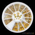 12sets 5 Sizes Acrylic Glitter Gold Rhinestone Nail Art Salon Stickers Tips DIY Decorations 51HO smt 101