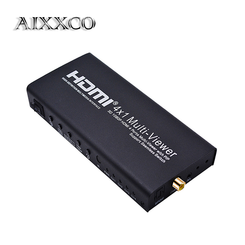 AIXXCO HDMI SPLITTER Switch HDMI 4x1 1080P Quad Multi-Viewer Switcher with 5 different display modes and IR Remote Control full 1080p hdmi 4x1 multi viewer with hdmi switcher perfect quad screen real time drop shipping 1108