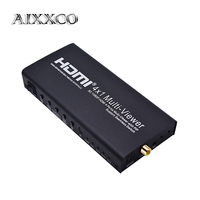 AIXXCO HDMI SPLITTER Switch HDMI 4x1 1080P Quad Multi Viewer Switcher with 5 different display modes and IR Remote Control