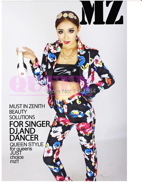 Nuevas Mujeres Cantante DJ trajes de diseño original atmosférica traje negro y azul flores de la señora traje de la etapa del vestido discoteca desgaste de la demostración