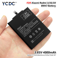 YCDC поле оригинальный 4000 мАч BM47 смартфон Батарея для Xiaomi Redmi 3 3s Батарея Красный Рис Hongmi Redmi 3X Замена батарей