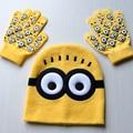 Kids Winter Hat Children Glove Hat Set New Fashion Girls Boys Cotton Minions Hat Gloves Winter Designer Baby Kids Knitted Caps