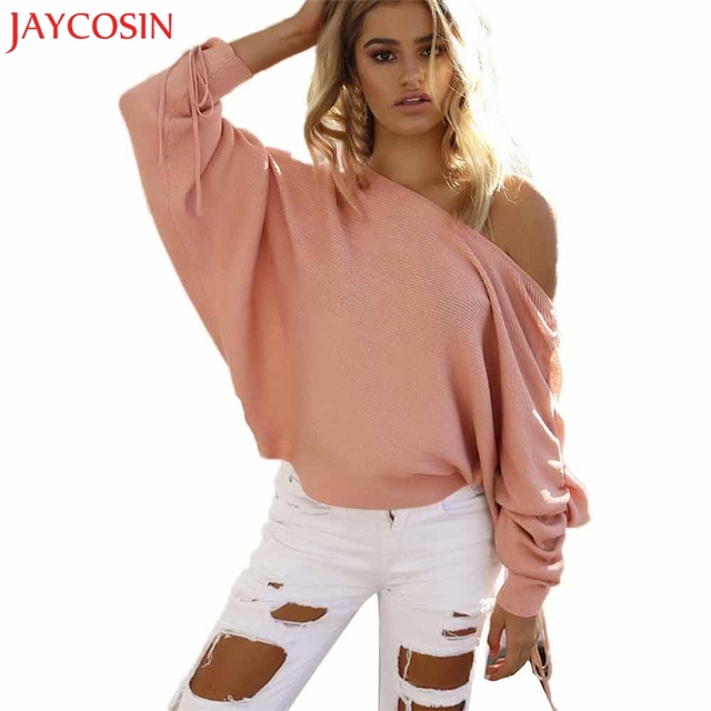d198d85325983 JAYCOSIN women sweaters 2017 Fashions One Shoulder pull femme Tops Knitted  Oversized Batwing Sleeve Sweater Jumper pullovers  23