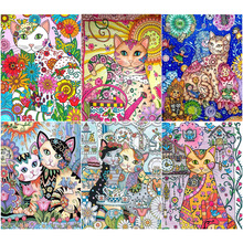 Oly 5D Diamond Painting Cat Full Round Mosaic Crayon Picture Rhinestone Embroidery