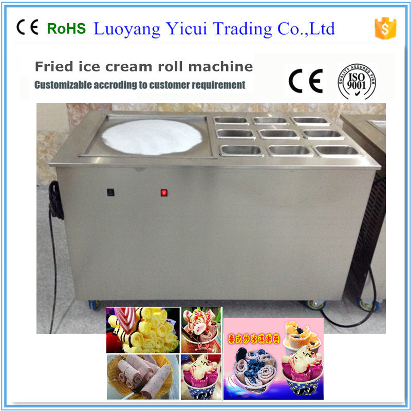 9 containers 1 pan ice cream roll making machine